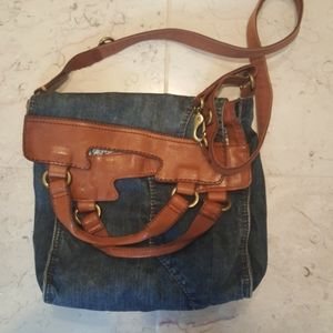 Lucky Brand foldover denim crossbody pocketbook